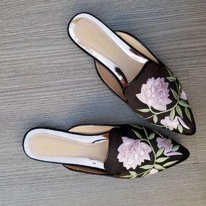 Shoes - Embroider Flower on Black Satin Mule Loafer-F